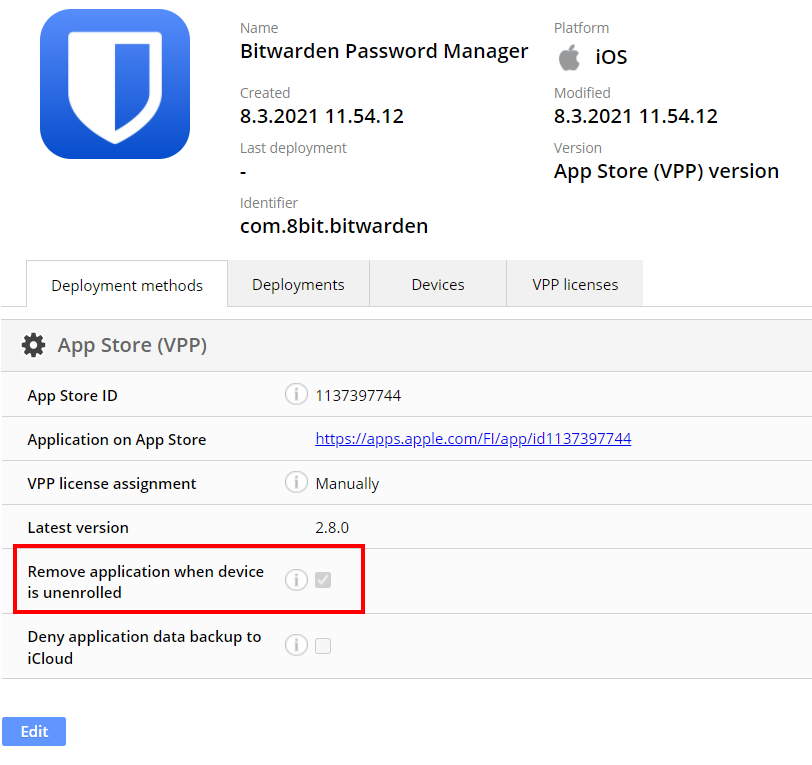 Remove application when device is unenrolled