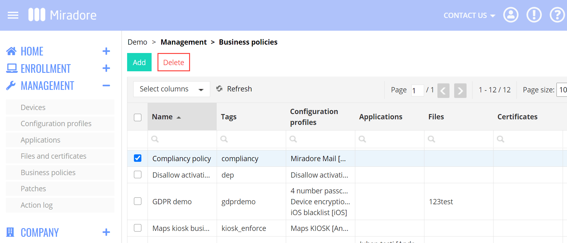 Business policy list Delete action