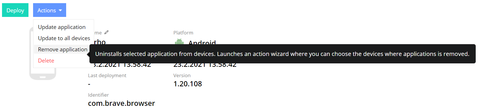 Remove application from devices