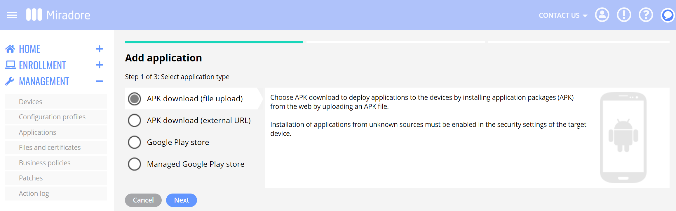 Add APK download to Miradore