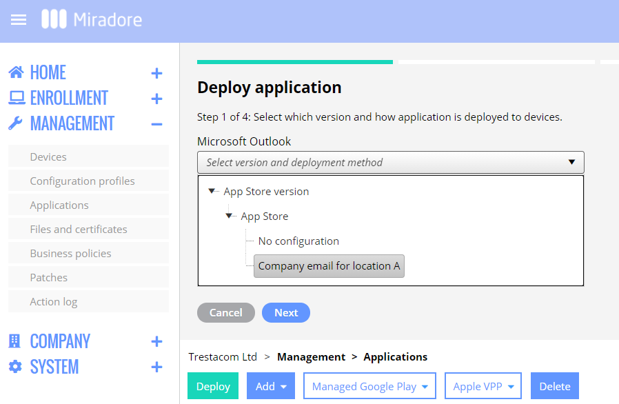Choose app version and the managed app config for the deployment