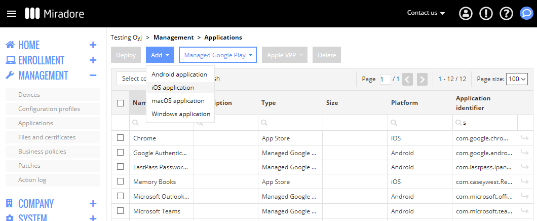Applications page shows managed apps in Miradore