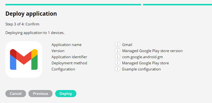 Summary of application deployment details