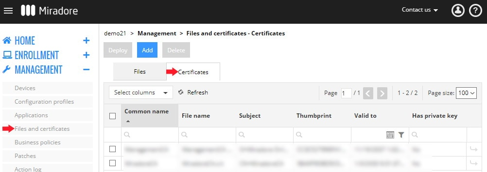 Add files and certificates to Miradore to deploy them to your Apple iOS devices remotely.