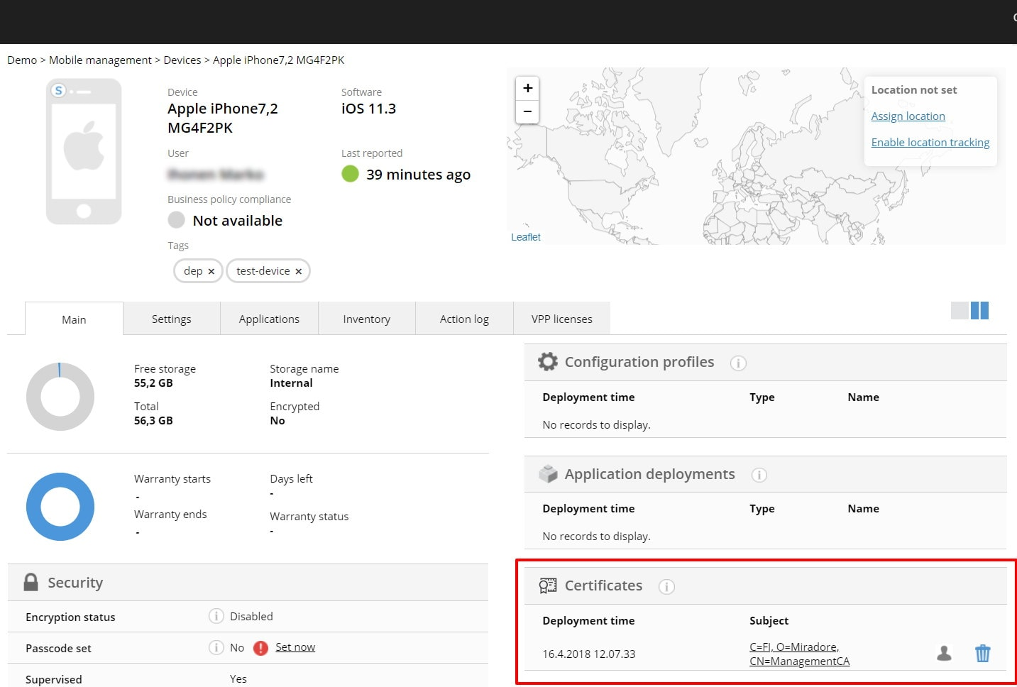 You can see successfully deployed certificates at the device page.