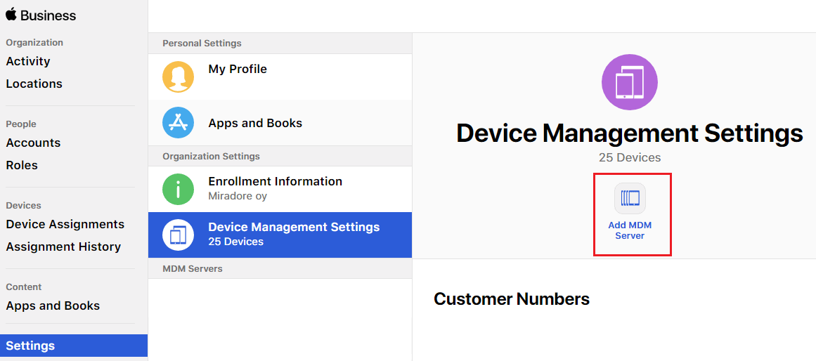 Configuring Apple DEP to Miradore Online with Apple Business Manager