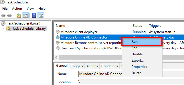 Scheduling user import from Microsoft Active Directory to Miradore ...