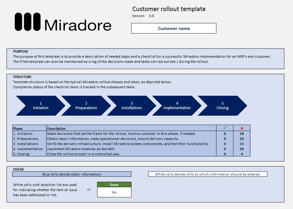 Miradore Management Suite customer rollout template