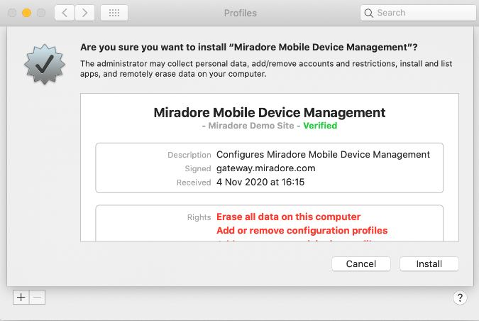 Permissions needed by Miradore MDM Profile