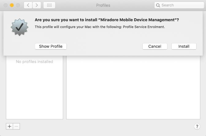 Install Miradore mobile device management