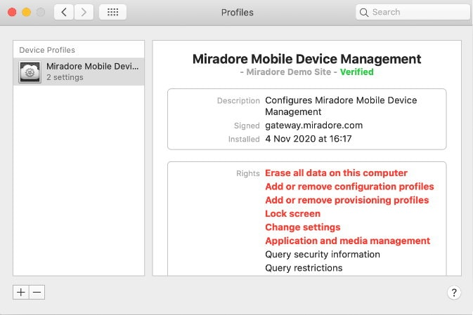 User can remove MDM profile from a non-DEP associated mac