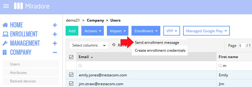 Sending an enrollment message