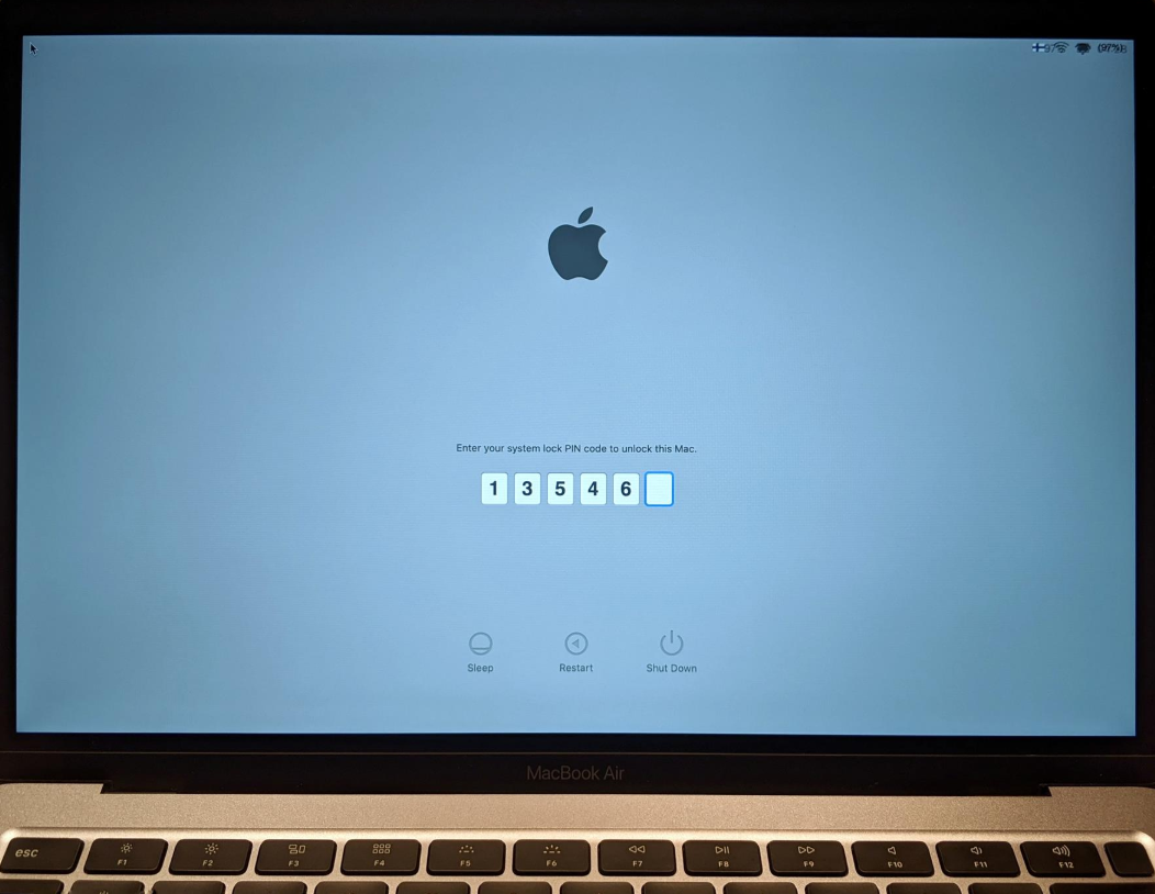 enter your system lock pin code to unlock this mac