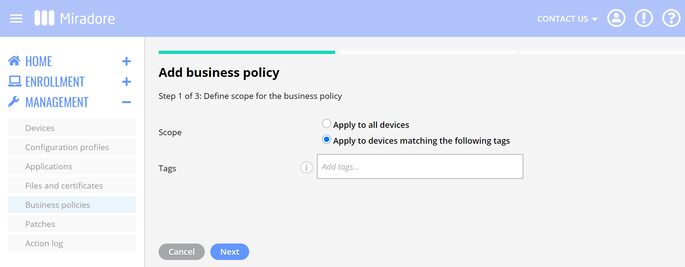 Define scope for business policy