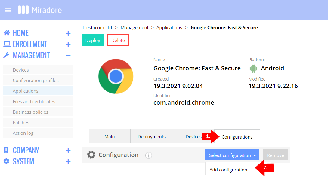 Add a managed configuration for the Chrome app