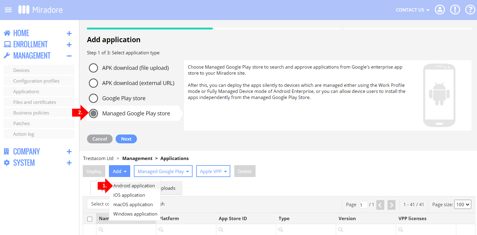 Adding a managed Google Play app to Miradore's application repository