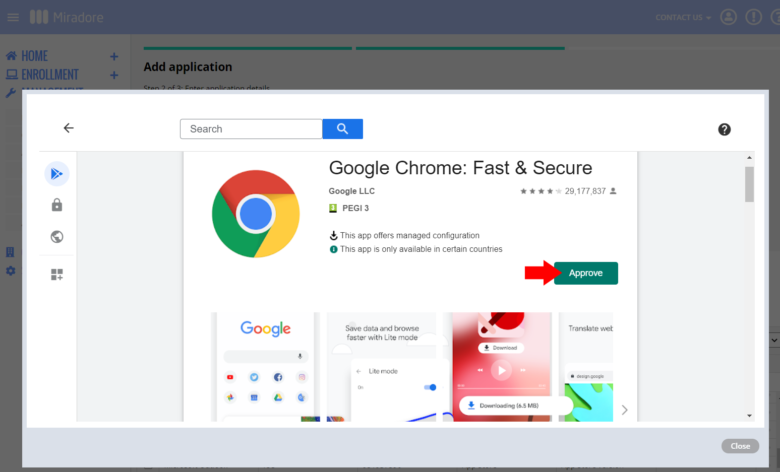 Approve Chrome in managed Google Play store