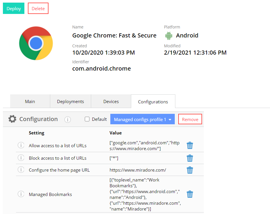 Managed app configs for Chrome. How to set HomePageLocation, managed bookmarks and how to block and whitelist URLs.