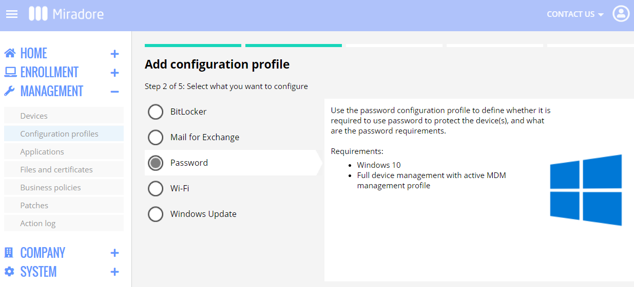 Password policy for the local users of Windows 10 computers