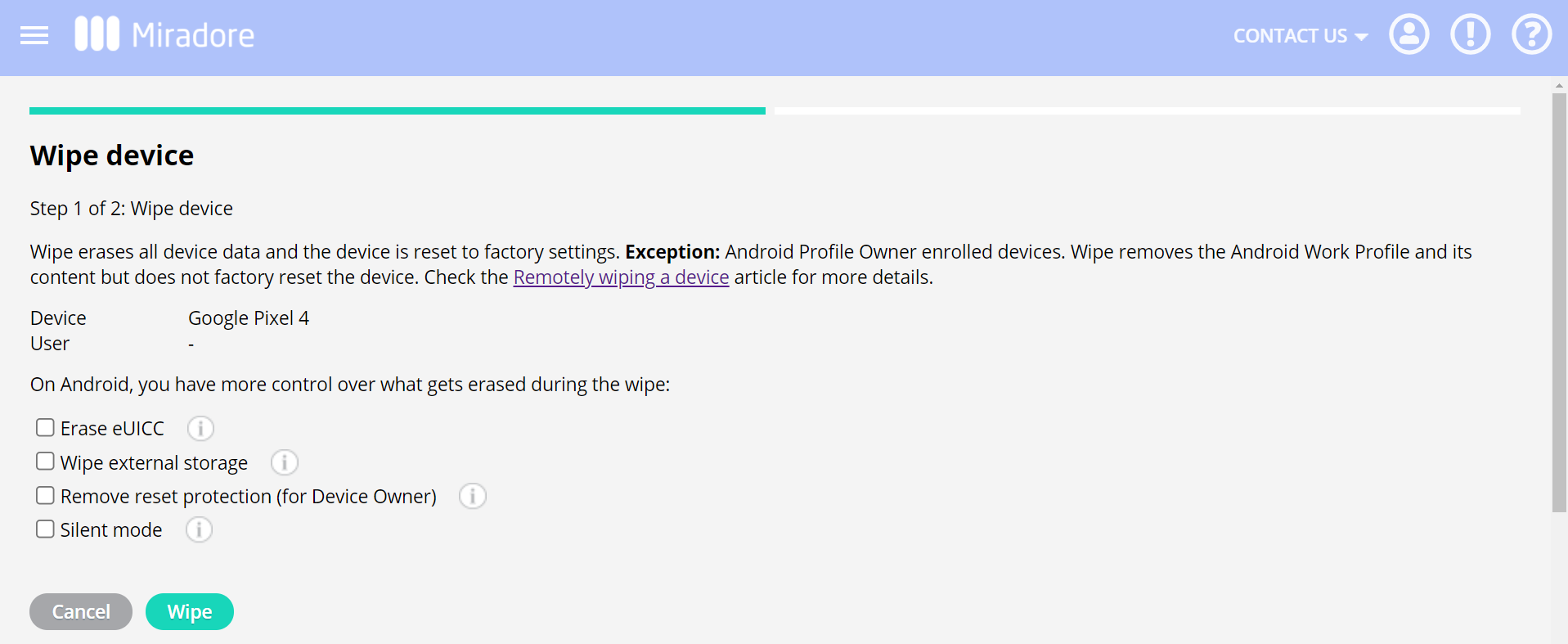 more wipe options for Device owner
