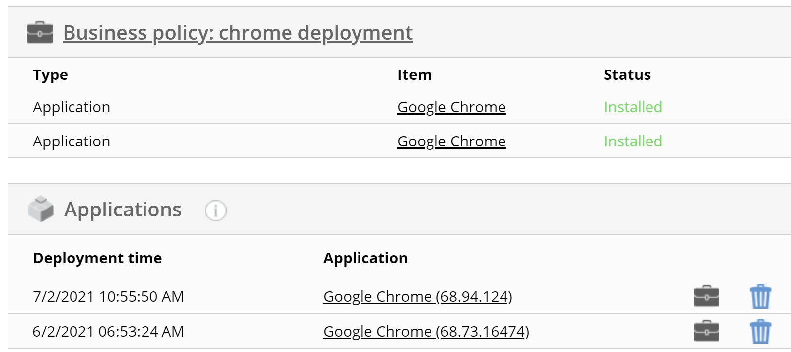 Miradore UI shows duplicate information about app deployments after updating MSI apps.