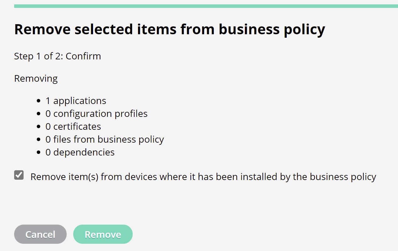 Remove an app from a business policy
